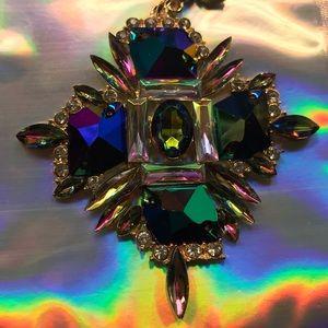Iridescent hologram rainbow pendant necklace